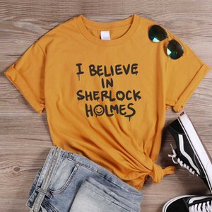 ONSEME Punk Estilo letras impressas T shirts Eu acredito Tops Letter Em Sherlock Holmes T Shirt Feminino Harajuku Tees Halloween