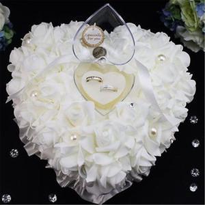 Romantik Gül Düğün Iyilik Kalp Şeklinde Inci Hediye Yüzük Kutusu Taşıyıcı Tutucu Çiçekler Yastık Yastık Gelin Nedime Buket Hediye