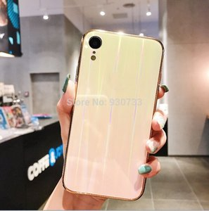 50pcs lot Gradient Tempered Glass Case For iPhone XS XR 7 8 X 6 6S Plus Cover Gradient Aurora Skin Back Cover For iPhone XS Case