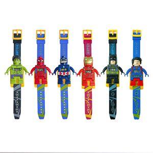Cartoon Montre électronique pour les enfants Iron Man Batman montre électronique Spider Man Toy Blocks 6 Styles