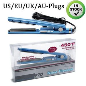 Em estoque!! PRO 450F 1 1/4 placa de titânio modelador de cabelo Straightener Alisamento Irons Flat Iron EUA / / UK / Plugs UA UE