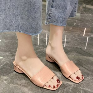 Low Heel Slippers Mulheres Pu Couro Slides Verão Chunky Heel Slippers Mulheres Natal aberto Toe Slides Rosa Verde Preto