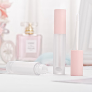 New 5ml lip gloss tubes,Empty lip bottle,Pink Cap,Frosted clear Lipstick Cosmetic packing container