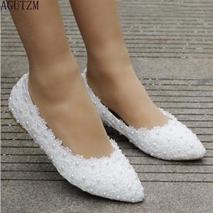AGUTZM Белые кружева жемчужные случайные женские туфли 2018 WOMEN Белый указал плоские туфли свадебные обуви V391