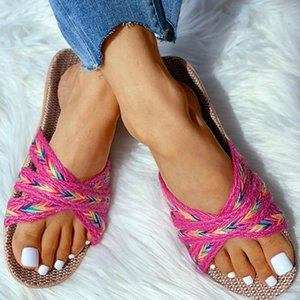 Linen Slippers Home Summer Cross Strap Ladies Casual Shoes Multi-style Non-slip Home Slippers Indoor Shoes Female Sandals#P30