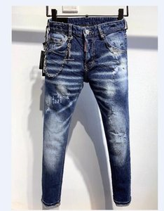 New Style Mens Holes Jeans Embroidery Motorcycle Biker Slim Denim Pants Trousers Casual Men Blue Jeans Size 28-38 1013