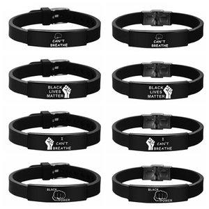 Eu não posso respirar 8 estilos bracelete de aço inoxidável Mora Preto Matéria de silicone Pulseiras Pulseiras ajustáveis LJJO8087