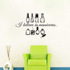 Citazioni Credo Wallpaper In manicure delle decalcomanie Nail Polish Wall Sticker PVC impermeabile Home Shop rimovibile
