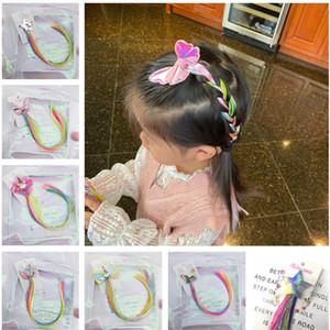 Lindo colorido falso unicornio peluca de las horquillas de los bebés Hairclip Barrettes tuerza el pelo de la trenza de la estrella de dibujos animados del tocado de pelo Arcos Accesorios 2020