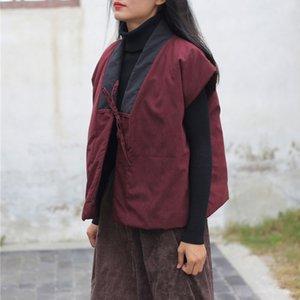 Frauenwesten Johnature Frauen Vintage Gürtelmäntel 2021 Herbst Warme Patchwork Chinesische Stil Tücher weich