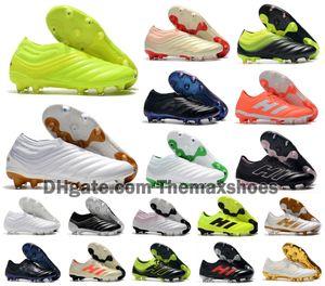 2019 nuevos Mens de la Copa 19 + 19 + 19,1 FG x 19 zapatos sin cordones de fútbol de red Champagne solar Fútbol Tamaño Botas Scarpe Calcio barato Tacos 39-45