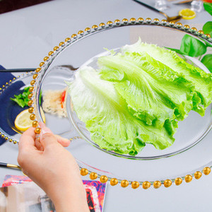 21cm round wedding clear golden glass beaded charger pates glass plate for wedding table decoration EEA523