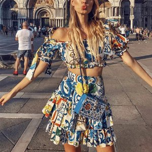 DEAT 2020 Summer Short Sleeve Slash Neck Floral Print Bow Tops Elastic Mini Skirt Women Two Piece Set MF665 T200701