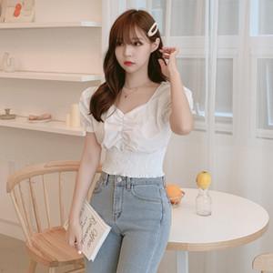 ETOSELL Frauen arbeiten Top-Quadrat-Kragen-Hauch-Hülse weibliches Hemd Sexy Short Sleeve Top Geerntetes