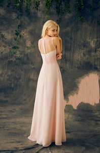 2019 New Real Sheer Round Neck Sleeveless A Line Long Chiffon Junior Cheap Maid Of Honor Dresses For Wedding Baby Pink Bridesmaids Dresses