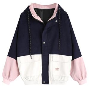 mulheres Casacos Casacos Jaquetas de Manga Longa de Veludo Patchwork Oversize Zipper Jacket Casacos e jaquetas corta-vento mulheres Atacado