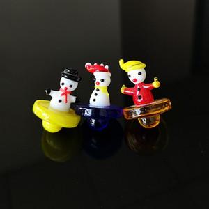 Bonhomme de neige en verre de couleur Carb Cap de Noël en verre cadeau Carb Caps pour Quartz Banger ongles huile Dab Rigs Accessoires fumeurs