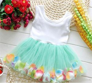 bebés ropa de vestir princesa muchachas de la flor 3D se levantó el vestido del bebé del tutú de la flor con colorido vestido de la falda de la burbuja ropa de bebé de encaje TO4 pétalo