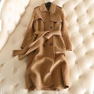 Caliente 2019 Nueva capa del invierno de la cachemira largo foso de las mujeres capa del resorte 100% lana de buena calidad Coats Delgado Office Lady sólido regular