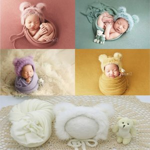 3pcs set Newborn Photography Props Blanket Hat Baby Photography Wrap Props Bear Doll Baby Photo Shoot Accessories CX200604