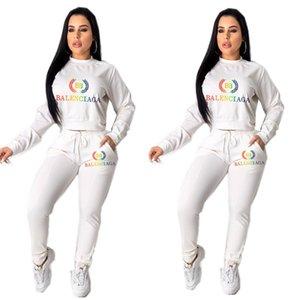 Donne BA Lettera Tuta a maniche lunghe T Shirt Bassiera + Pants Leggings 2 pezzi autunno insieme con cappuccio Outfits Abbigliamento casual Popolare Sportwear