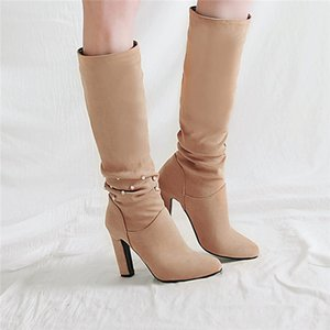 2018 Winter Fashion Rhinestone Pleated Flock Apricot Black Gray Knight Ridding Long High Heels Boots Knee High Shoes