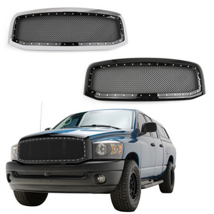 Areyourshop Black Chrome Rivet Стиль Wire Mesh Grille + Shell для Ram 1500 2500 3500 2006-2008 Grille с Shell автомобилей Запчасти