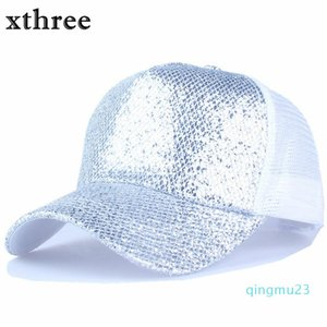 Wholesale-Xthree summer Shining baseball cap snapback hat hip hop casquette bone men hats for women