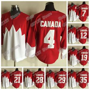 Cosida 1972 de Canadá del equipo de la vendimia Jersey 4 Bobby Orr 7 PHIL ESPOSITO 12 Yvan Cournoyer 19 Paul Henderson Rojo Blanco hockey sobre hielo Jersey