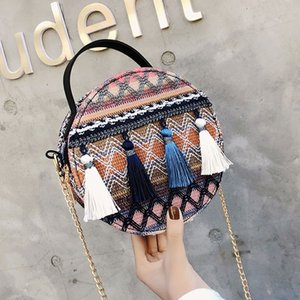 New 18cm national custom chic shoulder bags for women Bohemia style girl hangbags Round tassel colorful bags hot sale