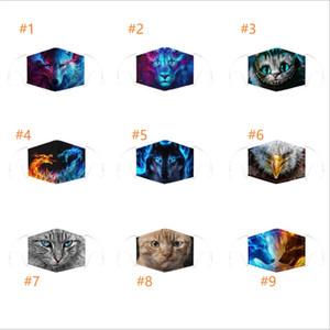 Мультфильм Anaimal Cat Wolf маска с 2pcs фильтрует Маску гулянки 3D Printed РМ2,5 Хлопка лица
