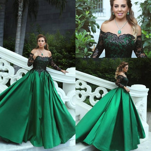 2019 Mangas largas de encaje negro verde esmeralda vintage Vestidos de fiesta de graduación fuera del hombro Una línea Oriente Medio Vestidos elegantes