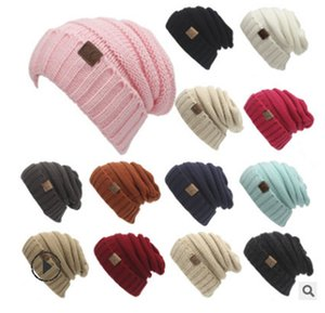 Winter Trendy Warm Hat Knitted Women Simple Style Chunky Soft Stretch Cable Men women Knitted Beanies Hat Beanie Skully Hats Colors