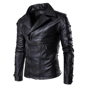 Sonbahar Kış Katı Bandaj Tasarımcı Coats Ceketler AB Boyut Mens Bahar Motosiklet Ceketler PU Deri