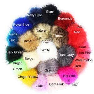 Furling 12pcs Pom Poms DIY Wholesale 10cm Soft Faux Fox Fur Pom Pom Ball for Knitting Hat Accessories Keychain Accessory SH190921