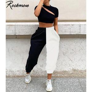 Rockmore Getäfelten Harajuku Breites Bein Hosen Frauen Plus Größe Kontrast Farbe Hosen Übergroßen Femme Winter Jogginghose Y200418