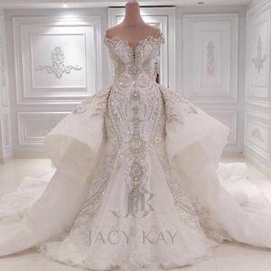 Cuentas de cristal apliques de encaje de lujo fuera del hombro Vestidos de novia perla Sirena con barrido desmontable Vestidos de novia de tren lentejuelas