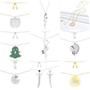 Fahmi 100% 925 Sterling Silber mit eingelegtem mintgrün Kristall-Diamant-Geist Form METEORITES Feder Schwert Feder Ferkel Teufel neckl fliegen