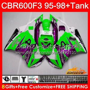 Тело бака для HONDA CBR600FS CBR600CC Зеленый продажа CBR 600 FS 41NO.186 CBR600F3 CBR 600F3 1995 1996 1997 1998 CBR600 F3 95 96 97 98 обтекателя