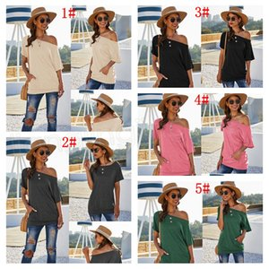Off shoulder women pocket top solid slant-shoulder T-shirt Summer Spring Clothes Ladies Tops home tee T-shirt FFA3756-1