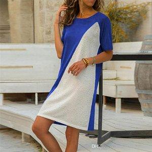 Blanc Décolleté Femme Casual Une ligne robe Mode manches courtes Donna Tshirt Dress Brief Lady Cloth