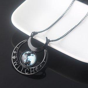 Strega Malefica Black Moon Collana Dichiarazione monili della collana di triplo Moon Goddess Blue Stone Ciondoli