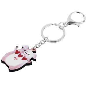 Cadeia do coração do dia leitão Key 2019Acrylic dos Namorados Saco Anel adolescente de viaturas Bolsa Decoração chaveiros Para Mulheres Meninas encanto presente
