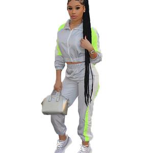 Gümüş Neon Yeşili Splice Eşleştirme Eşofman Casual eşofman takımları yazlık kıyafetler 2 İki Adet Set Kadınlar Üst ve Pantolon ayarlar