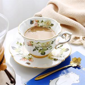 Fine Bone China чашки кофе наборы белые розы керамические чайные чашки и блюдца Британский офис Teacup Royal Porcelain Хороший подарок