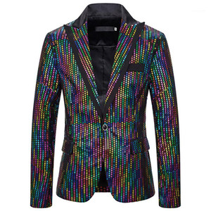 Club Blazers Fashion Mens Colorful Polka Dot Printed Outerwear Casual Mens Slim Clothing Mens Designer Night
