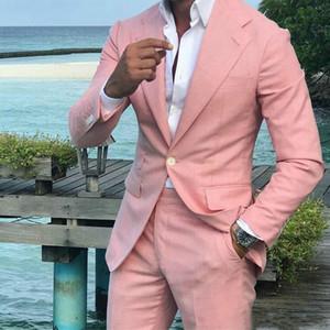 Casual Pink Men Suits for Business Slim Fit Notch Lapel Wedding Groom Tuxedo Latest Coat Pants Designs Costume Homme 2 Pieces Men Suits