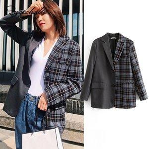 Queechalle blazer casaco das mulheres 2018 outono terno jaqueta feminina patchwork xadrez solto blazer casacos senhora do escritório outerwear casuais