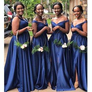 Afrika Yan Bölünmüş Gelinlik Modelleri Lacivert Kapalı Omuz Dantel-up Back Country Bohemian Plus Size Düğün Misafir Elbiseler vestidos
