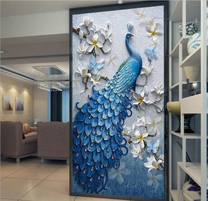 5D Decorative painting Nordic peacock wallpaper TV background wall covering porch mural flower wall paper household products